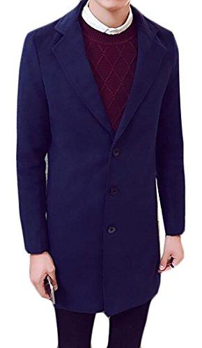 Three Button Wool Coat (Fulok Mens 3 Button Slim Warm Thicken Wool Blend Jacket Peacoat Outwear Dark Blue Medium)