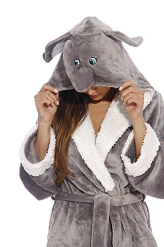 6314-Elephant-L Just Love Critter Robe / Robes for Women, Elephant (Velour), Large Cat Robe