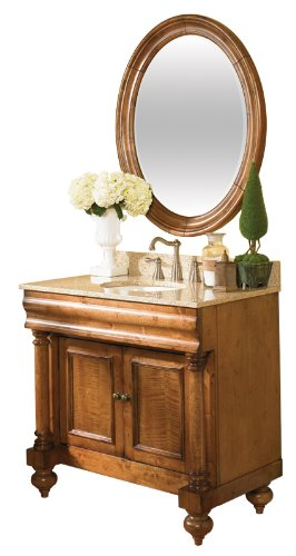 Kaco international 725-3600-P-GN Guild Hall 36-Inch Vanity in Distressed Pecan Sherwin Williams Finish and Green Granite (Pecan Bathroom Vanity Light)