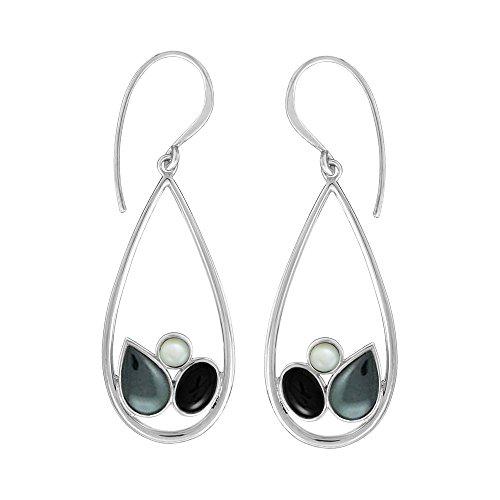 (Boma Jewelry Sterling Silver Teardrop Hematite, Mother of Pearl, Onyx Earrings)