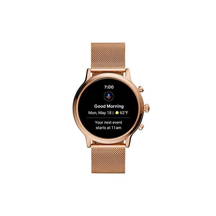 Los smartwatches que funcionan con la tecnología WearOS by Google funcionan con teléfonos iPhone1 y Android Funciona varios días con una carga de batería ampliada Seguimiento de actividad y frecuencia cardíaca, GPS incorporado para seguimiento de distancias, diseño apto para nadar