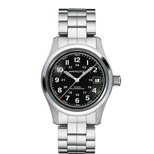 Hamilton Men's Khaki Field 38mm Steel Bracelet & Case Automatic Black Dial Analog Watch H70455133