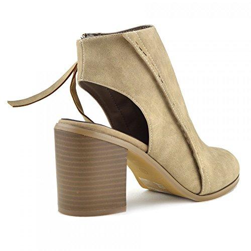 Womens Damen Cut Out Stiefel Block Heel Open-Back-Knöchel-Reißverschluss-Neue Schuhe Beige-Geschlossene Zehe