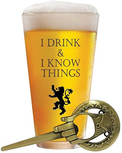 I Drink and I Know Things 17 oz Beer Glass + FREE Hand Of The King Bottle Opener Made In Casterly Rock – Game Of Thrones Inspired – Funny Novelty Gift - With Unique Gifts box included by Desired Cart 2