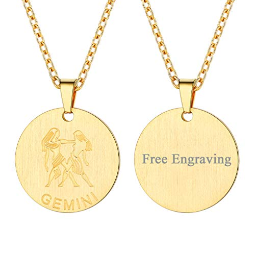 FaithHeart Engraving Astrology 12 Constellation Horoscope Necklace, 18K Gold Plated Gemini Zodiac Star Sign Coin Pendant Necklace Birthday Gifts Lucky Charms Layered Necklace (Gold)