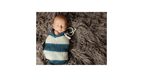 Newborn Baby Girl/Boy Crochet Knit Costume Photography Prop Hats and Outfits (Cocoon Baby Stripy Blue)