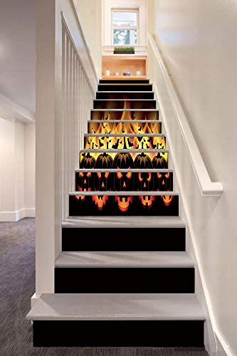 Vintage Halloween 3D Stair Riser Stickers Removable Wall Murals Stickers,Happy Halloween Image with Jack o Lanterns on Fire with Bats Holiday Decorative,for Home Decor 39.3