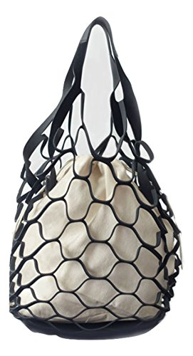 Nautical Purse Beach Bag Tote Inspired By a Fishnet (Medium, Black) by Adamonica