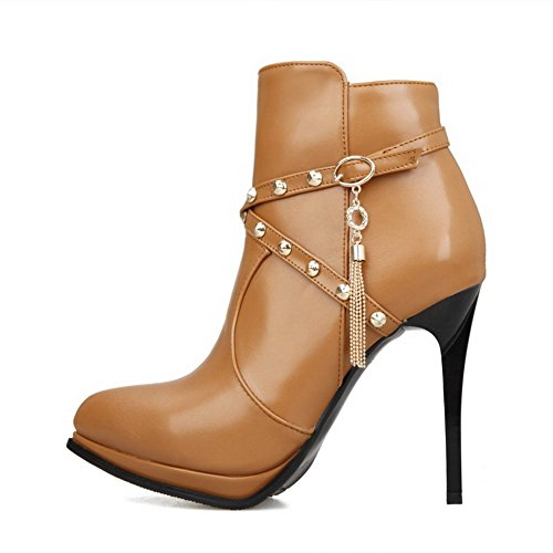 Blend Yellow Materials and Boots Metal Women's Zippers High Allhqfashion Heels PU with Ornament T7Exvg