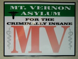 HALLOWEEN PROP SIGN - Mt. Vernon Asylum STICKER/DECAL - 9 x 11 ...
