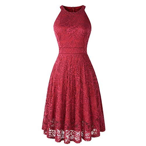 - Womens Vintage Lace Off Shoulder Puffy Swing Dresses Sexy Elegant Wedding Dress for Party Cocktail Red