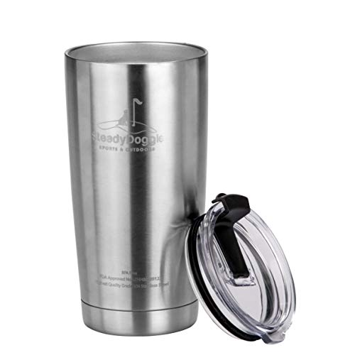 Premium Stainless Steel Coffee Travel Mug 20 oz Double Wall Insulated Tumbler with Spill Proof Flip Top Lid - Sweat Free, Dishwasher Safe, Snug Fit for Car Cup Holder – Travel Friendly Size