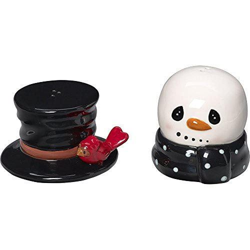 (Snow Much Fun by Precious Moments Snowman Holiday Décor Ceramic Salt And Pepper Shakers, 2-Piece Set, 171474)