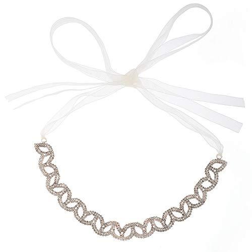Rose Gold Rhinestone Crystal Wedding Bridal Headband Hair Vine with Ivory Organza Belt