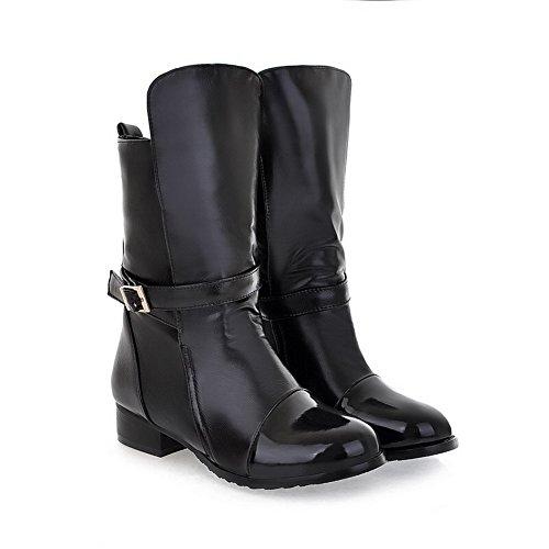 Cordones Mini Baja Caña Negro Tacón Mujeres Agoolar Botas Sin Pu ECt6Oq