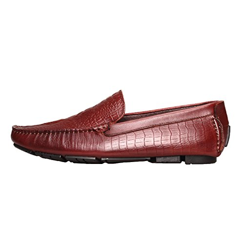 Santimon Mens Comfort Genuine Leather Slip-on Moccasins Loafer Doug Shoes Wine red-1 1IIvN