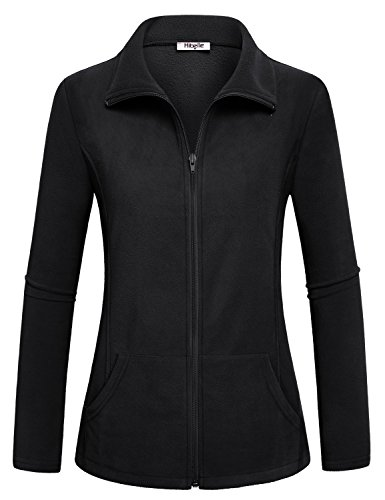 Juniors Track Jacket - Hibelle Black Fleece Jacket, Womens High Collar Jackets Weatherproof Thermal Coat with Zipper Long Sleeve Activewear Sport Tops Outerwear Simple Slim Cut Clothing Large L