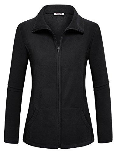 Hibelle Black Fleece Jacket, Womens High Collar Jackets Weatherproof Thermal Coat with Zipper Long Sleeve Activewear Sport Tops Outerwear Simple Slim Cut Clothing Large L ()