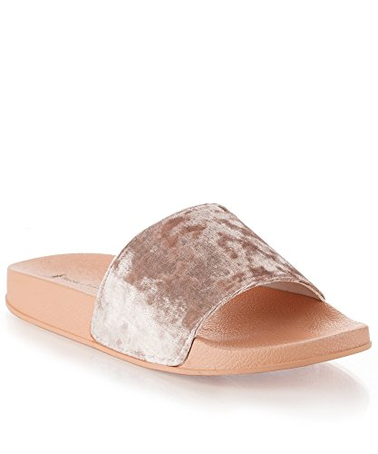 RF ROOM OF FASHION Women's Fashion Velvet Single Strap Band Slides - Slip On Flat Sandals - Soft Footbed Slippers Pink (Light Pink Slides)