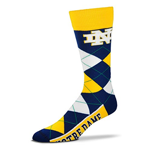 For Bare Feet NCAA Argyle Lineup Socks-Notre Dame Fighting Irish-One Size Fits Most