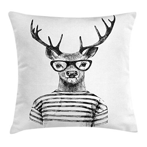 Spun Reindeer Glass (Lunarable Deer Throw Pillow Cushion Cover, Dressed up Reindeer Headed Human Hipster Style with Glasses Stripped Shirt, Decorative Square Accent Pillow Case, 26 X 26 Inches, Charcoal Grey White)
