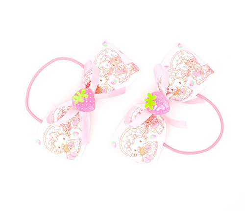 Hello Kitty x Strawberry Shortcake 2 piece Ponytail Holder (Ponies Pony Strawberry Shortcakes)