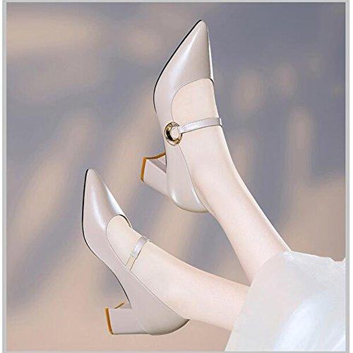 Anni Scarpe cn36 Da Vintage Per 40 18 uk4 Dimensioni colore Beige Eu36 Ed Le Haizhen Pantofole Estate Donne Donna Alti Primavera Tacchi Beige 5Oxpq