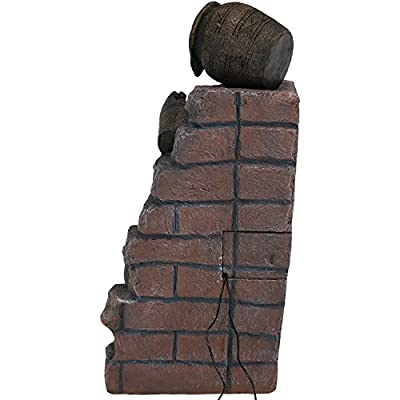 Sunnydaze Crumbling Bricks and Pots Solar-on-Demand Water Fountain with LED Light, Outdoor Garden Cascading Waterfall Feature, 27-Inch Tall