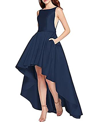 Alanre Bateau Neck Ruched Satin Homecoming Dresses Short Front Long Back Prom Dress Illusion Navy 28