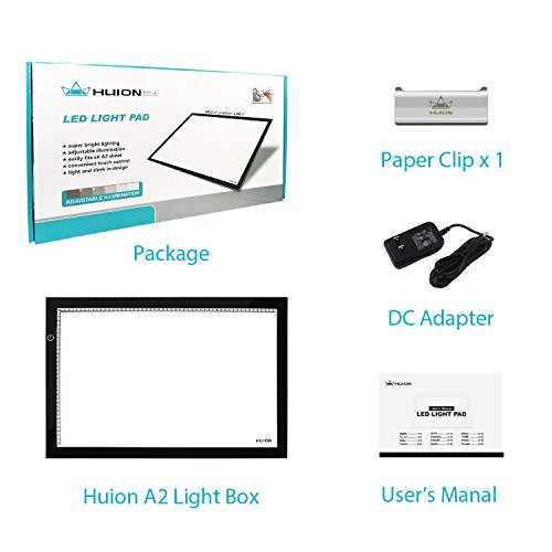Huion A2 Large Tracing Light Box, AC Powered Light Pad, Adjustable Brightness (23.6-by-15.75 Inches)