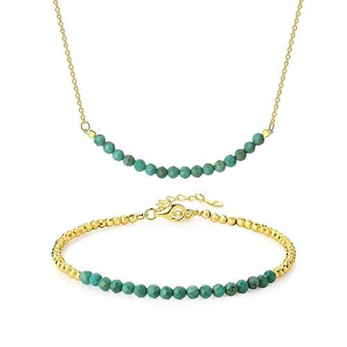 OKIKO Beaded Birthstone Jewerly Set Adjustable Bracelet Bar Necklace Genuine Gemstone Women Gift