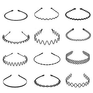 Hedume 12 Pack Unisex Wavy Headband, Metal Spring Wavy Hairband Hair Hoop, Simple Fashionable Headband Headwear Accessories for Women and Men