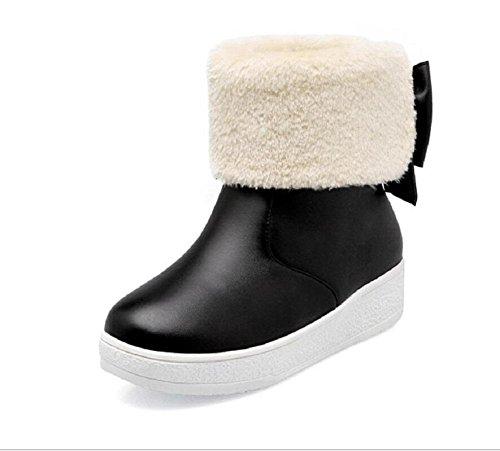 Botas de nieve de invierno además de terciopelo algodón plano black