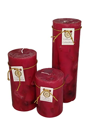 Handmade Scented Candle - Long Burning Pillar - Cranberry Woods Scent (Set of 3)