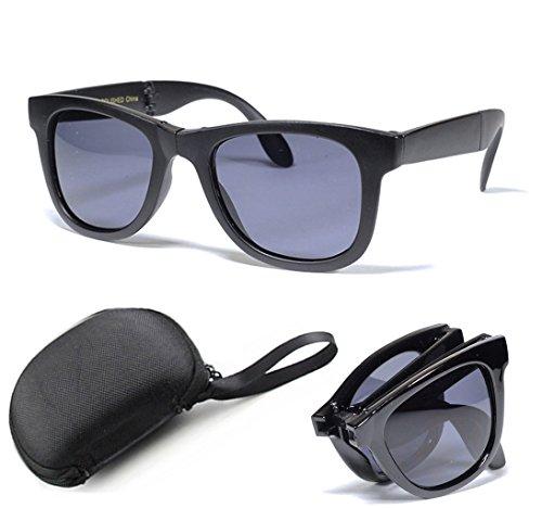 Fordable Folding Pocket Retro Mirror Wayfarer Compact Men Women Sunglasses + Free Sunglasses Case (Black - Folding Case Wayfarer
