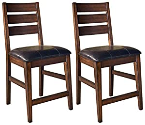 picture of Ashley Furniture Signature Design - Larchmont Barstool Set - Pub Height - Upholstered - Vintage Casual - Set of 2 - Burnished Dark Brown
