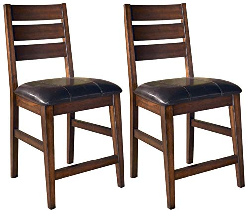 Ashley Furniture Signature Design - Larchmont Barstool Set - Pub Height - Upholstered - Vintage Casual - Set of 2 - Burnished Dark Brown,signature design by ashley