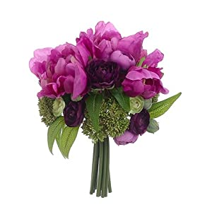 "10"" Peony/Mini Ranunculus Bouquet Fuchsia Purple (pack of 6) 23"