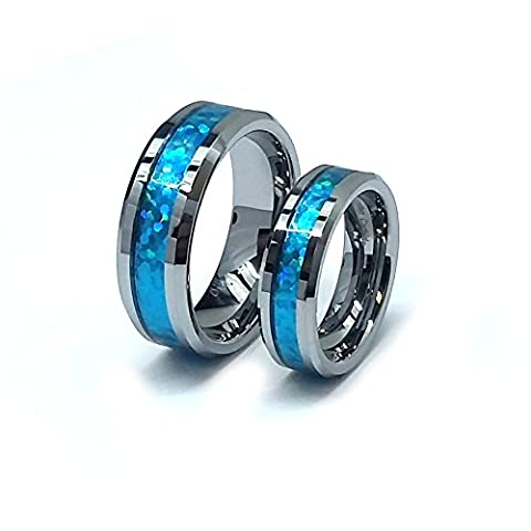 His & Her's 8MM/6MM Tungsten Carbide Beveled Edge Hawaiian Blue Inlay Wedding Band Ring Set (His And Her Rings Tungsten)