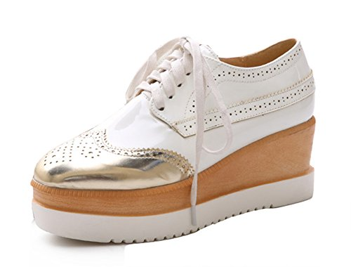 Aisun Women's Casual Trendy Round Toe Thick Sole Mid Heels Lace Up Platform Wedge Oxfords Shoes White 6 B(M) US