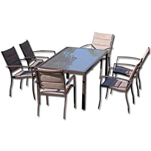 Mesa de comedor de muebles de jardín hierro 6 sillones con ...