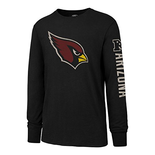 NFL Arizona Cardinals Men's OTS Slub Long Sleeve Team Name Distressed Tee, Jet Black, Large