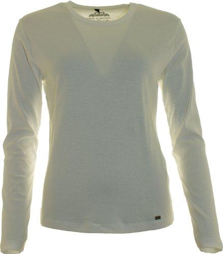 H & S Fashion - Camiseta de manga larga - para mujer Blanquecino