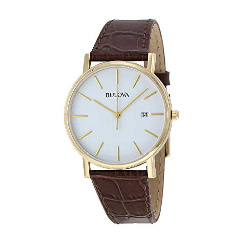 Bulova Men's 97B100 Classic Gold-Tone Stainless Steel Watch With Brown Leather - Embossed Buckle Croco