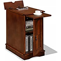 Premium 3550 Chairside End Table with USB and Power Outlet Charging Ports and Tray in Cherry