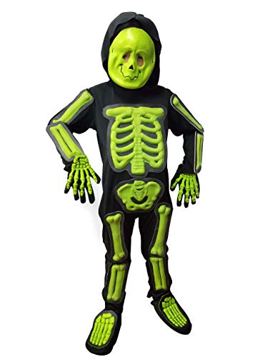 Kids Glow Skeleton Costume,Child Scary Bone Skull Outfit Fancy Dress Up for Halloween Party Carnival(6PCs) 4-6Y Green
