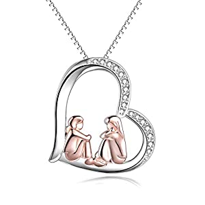 Collier pour sœurs en argent sterling plaqué or rose avec cœur, grande sœur, petite sœur, cadeau bijou pour filles