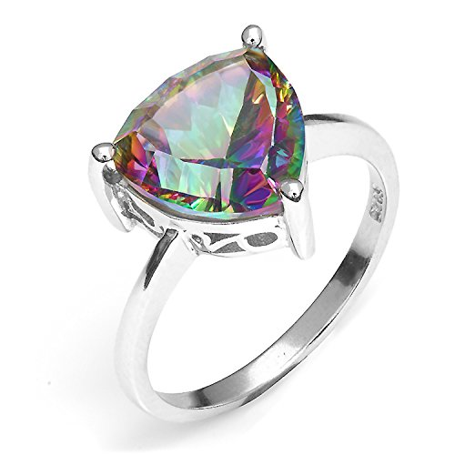 Price comparison product image AYT Trillion Natural Gem stone Jewelry Rainbow Fire Mystic Topaz Ring For Women Concave Cut Pure Solid 925 Sterling Silver Fashion 6.0