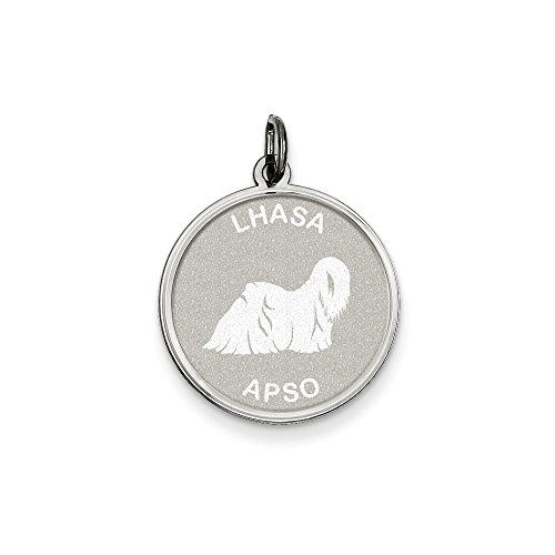 - Sterling Silver Lhasa Apso Disc Charm Necklace, 18