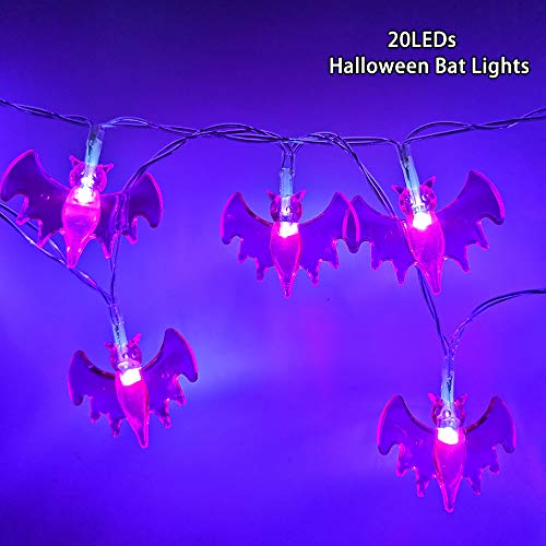 YSJ Battery Operated Halloween Bat String Lights 20 Purple LEDs Halloween Decorations